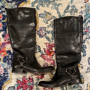 Frye Tall Black Boots With Extended Calf